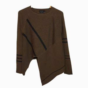 animale Wool Asymmetrical Ribbed Sweater Lagenlook